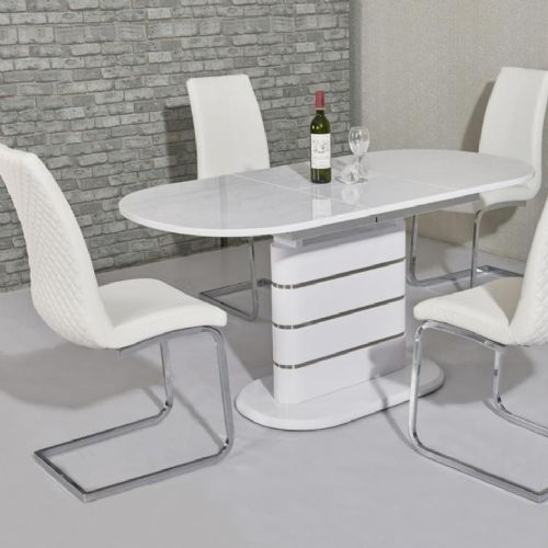 JP DT5215 Extandable Dining table160/200 cm White Gloss (Large) & JP CH998 White Chairs From Jesse p